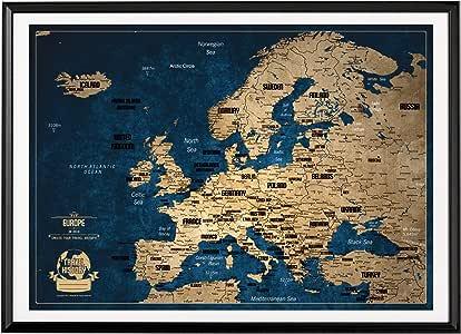 Mapa de viaje con pin de empuje, diseño de colores creativos, mapa de pasadores de empuje 53 x 73 cm, personaliza tu mapa de viaje, mapa de Europa con pasadores para marcar