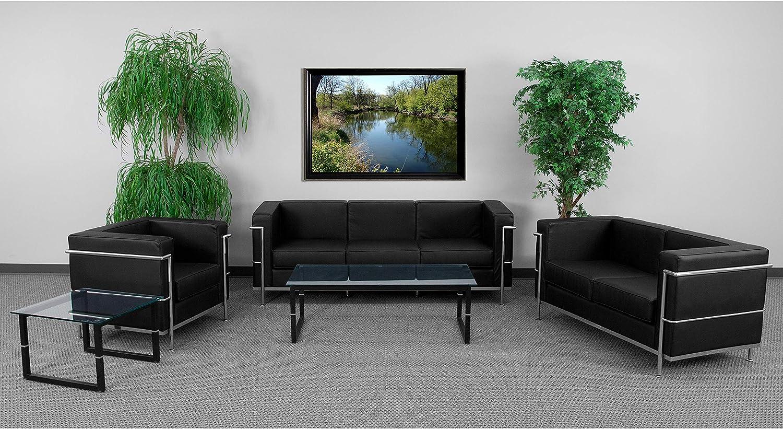"Flash Furniture Black Leather Reception Set, 43""-43"" W x 43.43"" D x 43.43"" H"
