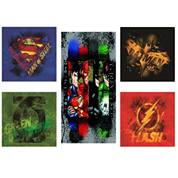 Modern Littles Justice League 5 Piece Canvas Wall Art Set Featuring Superhero Character Designs Of Superman
