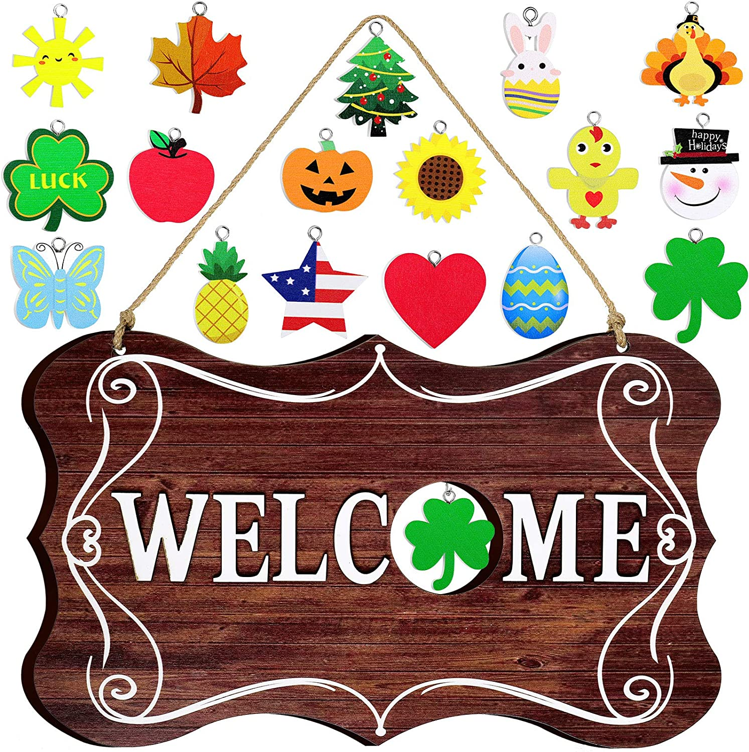 Jetec Interchangeable Seasonal Welcome Sign Rustic Wooden Welcome Sign Farmhouse Front Door Decor Wall Hanging Sign for Fall Christmas Easter Valentines Thanksgiving (Brown)