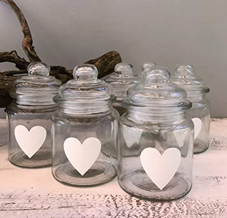 Glass Jars With Painted Heart Wedding Favours Wedding Table