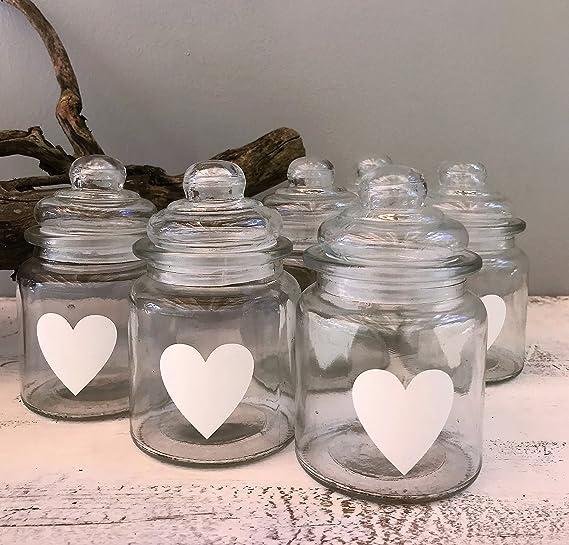 Tarros de cristal para puerta a través de la madera con corazón pintado para decoración de mesa de boda: Amazon.es: Hogar