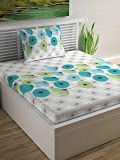 Divine Casa 100% Cotton Floral Single Bedsheet with 1 Pillow Cover - Turquoise and Patina Green