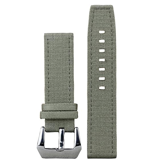 22mm ejército verde de alta calidad de nylon balístico bandas grises correas de reloj de 2 piezas para relojes suizos de lujo de los hombres: Amazon.es: ...