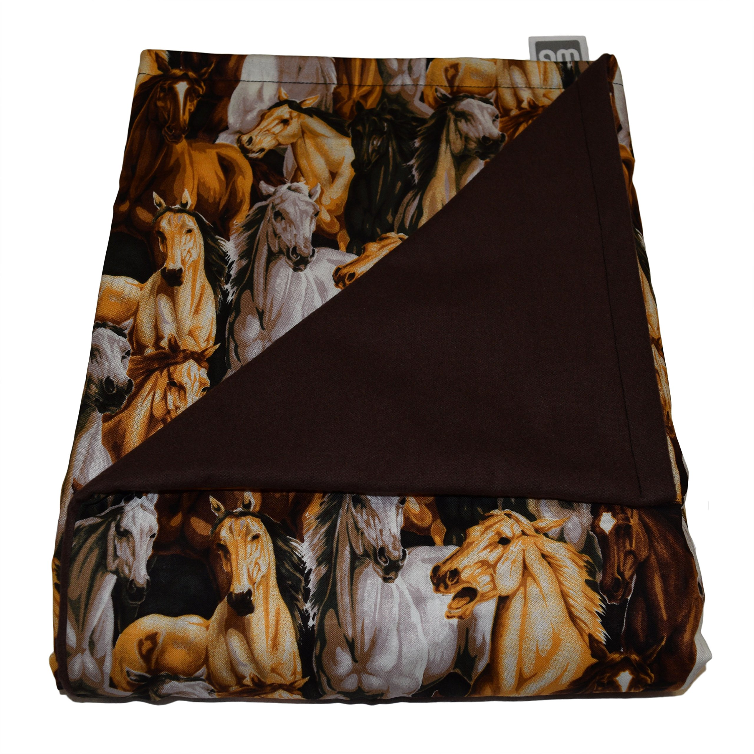 WEIGHTED BLANKETS PLUS LLC - MADE IN AMERICA - CHILD DELUXE SMALL WEIGHTED BLANKET - HORSES - COTTON/FLANNEL (52'' L x 40'' W) 5lb MEDIUM PRESSURE.