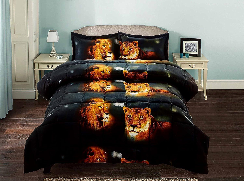 Queen Size Y15 3 Piece Set Box Stitched Lion Pride Prints 3d Comforter Set