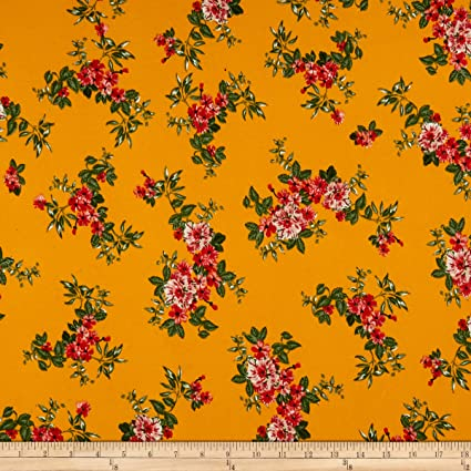 c133d5ae3c1 Amazon.com: Fabric Merchants Double Brushed Poly Jersey Knit Tropical  Flowers Fabric, Mustard/Red, Fabric By The Yard