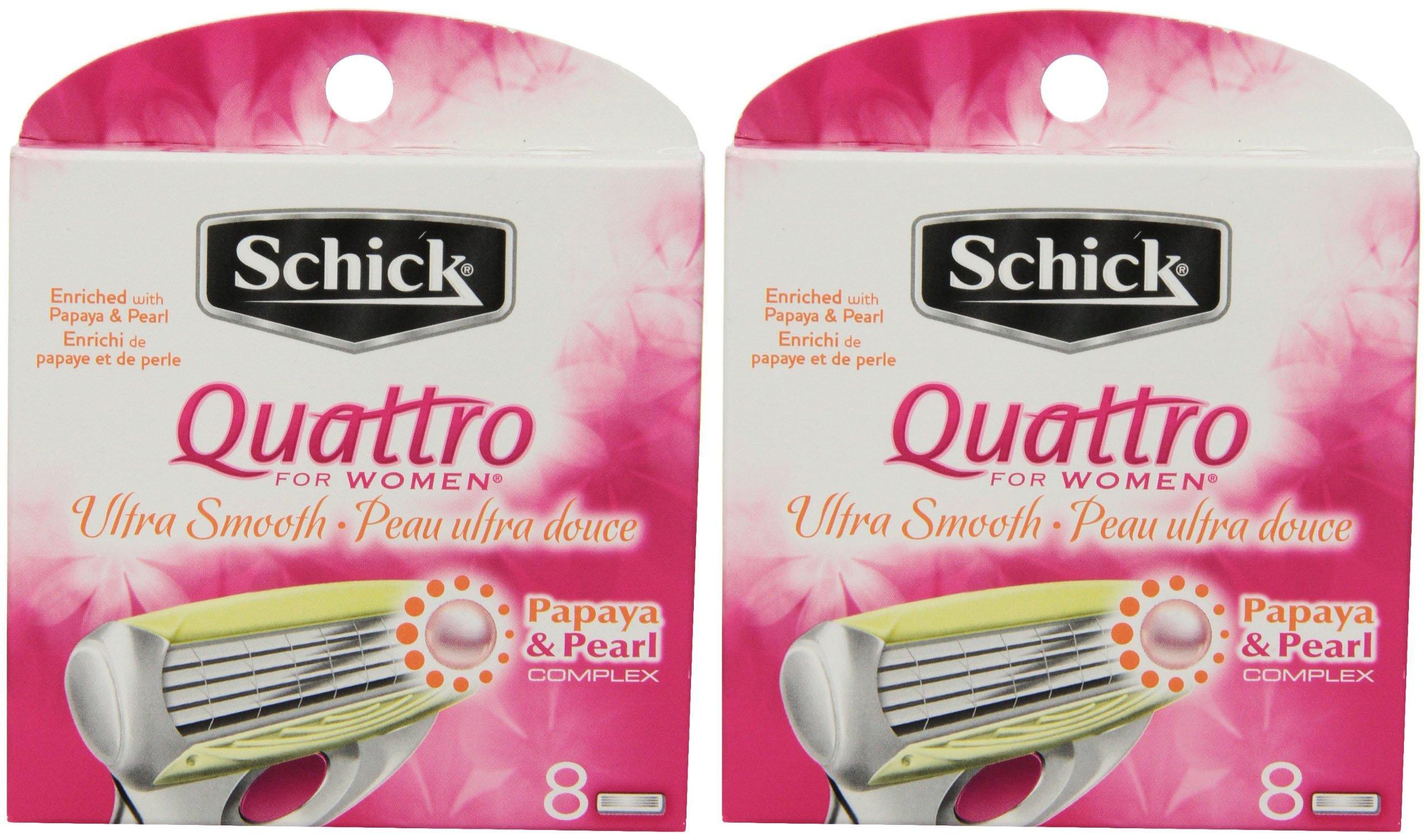 Schick Quattro for Women Razor Refill, Ultra Smooth, 8 Cartridges, 2 Pack