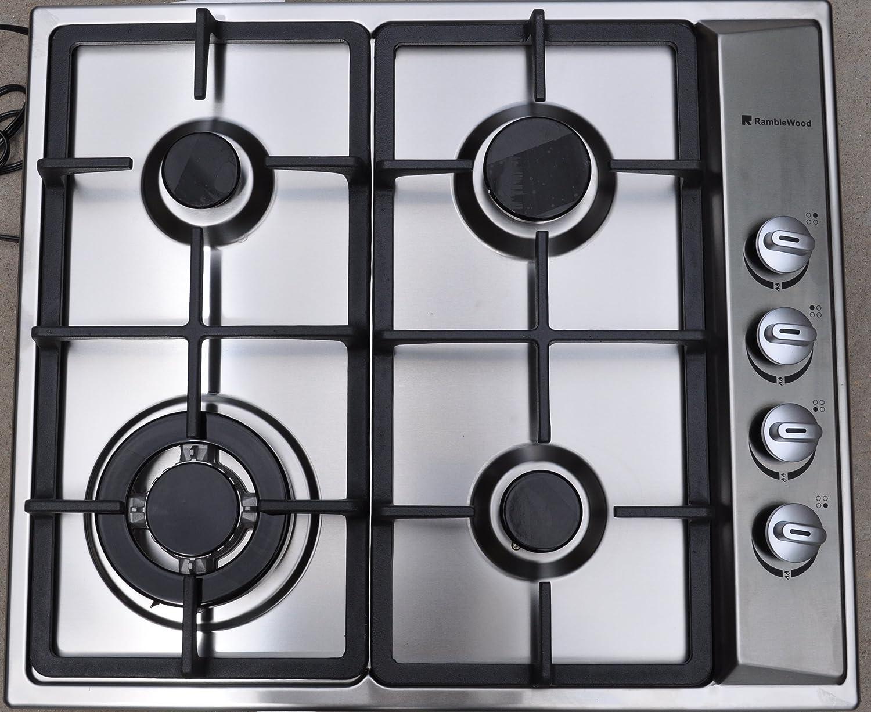 Amazon.com: Ramblewood High Efficiency 4 Burner Natural Gas Cooktop ...