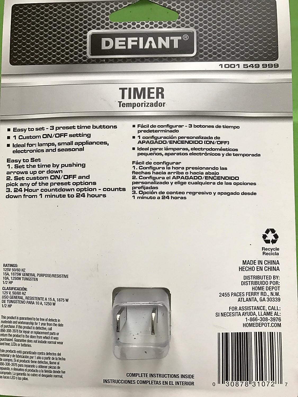 Defiant 15A/125V/1875W Easy Set Indoor Plug-in Digital Timer