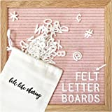 Light Pink Felt Letter Board 10x10 Inches. Changeable Letter Boards Include 300 White Plastic Letters & Oak Frame.
