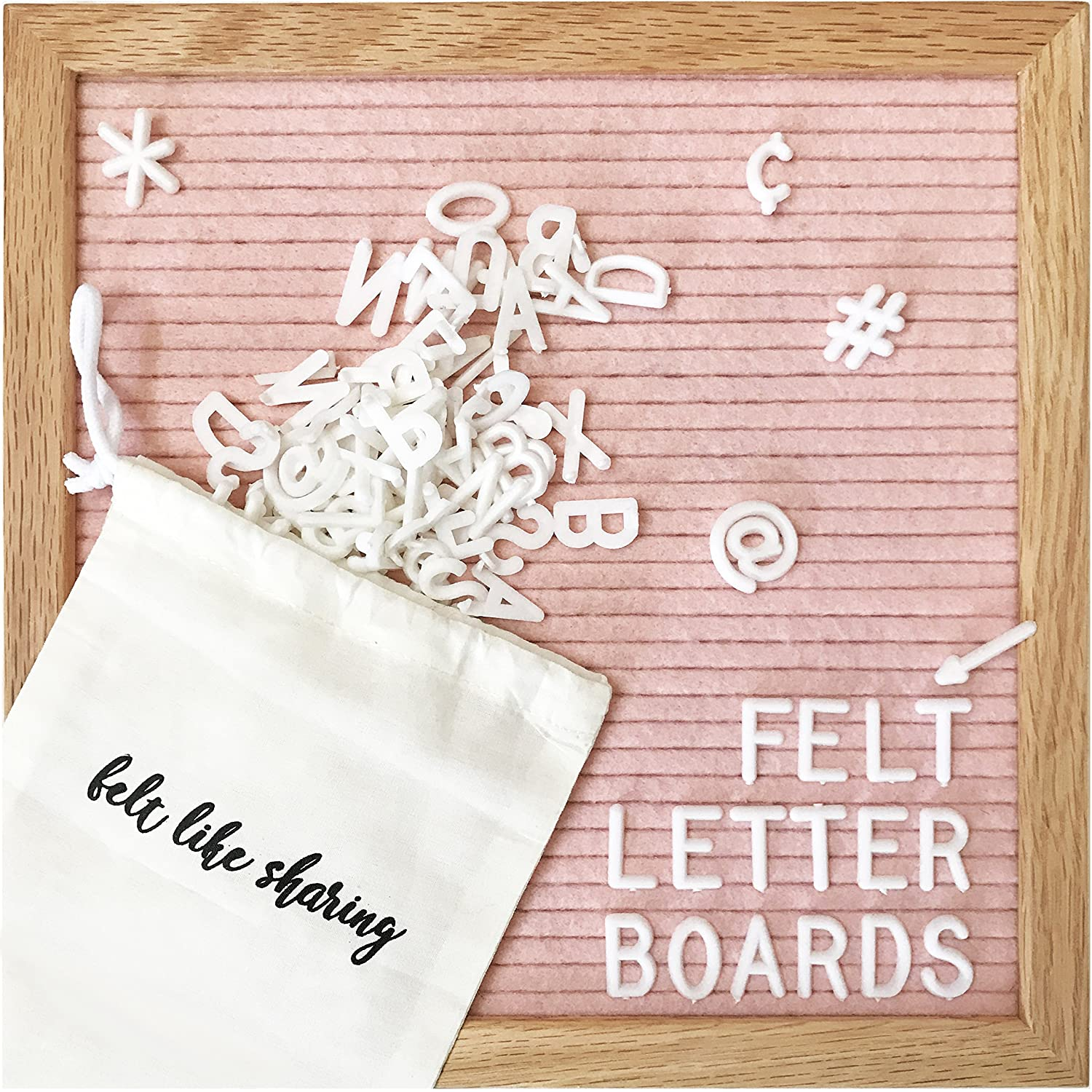 Amazon.com : Light Pink Felt Letter Board 10x10 Inches. Changeable ...