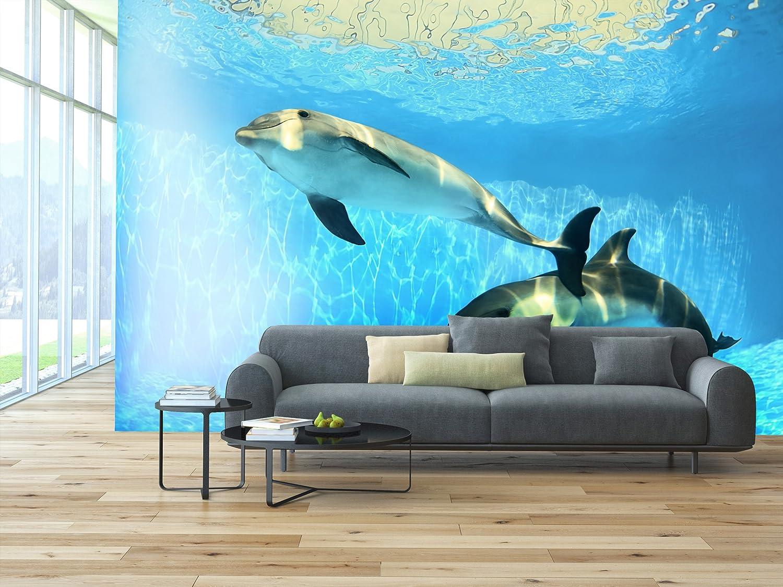 PVC Fototapete – ECO Wandbild Selbstklebende Tapete Tapete Tapete – 3D Vinyl Wandsticker - Delfine unter Wasser SW115(200x140CM) B07BK4YBKM Wandtattoos & Wandbilder 382420