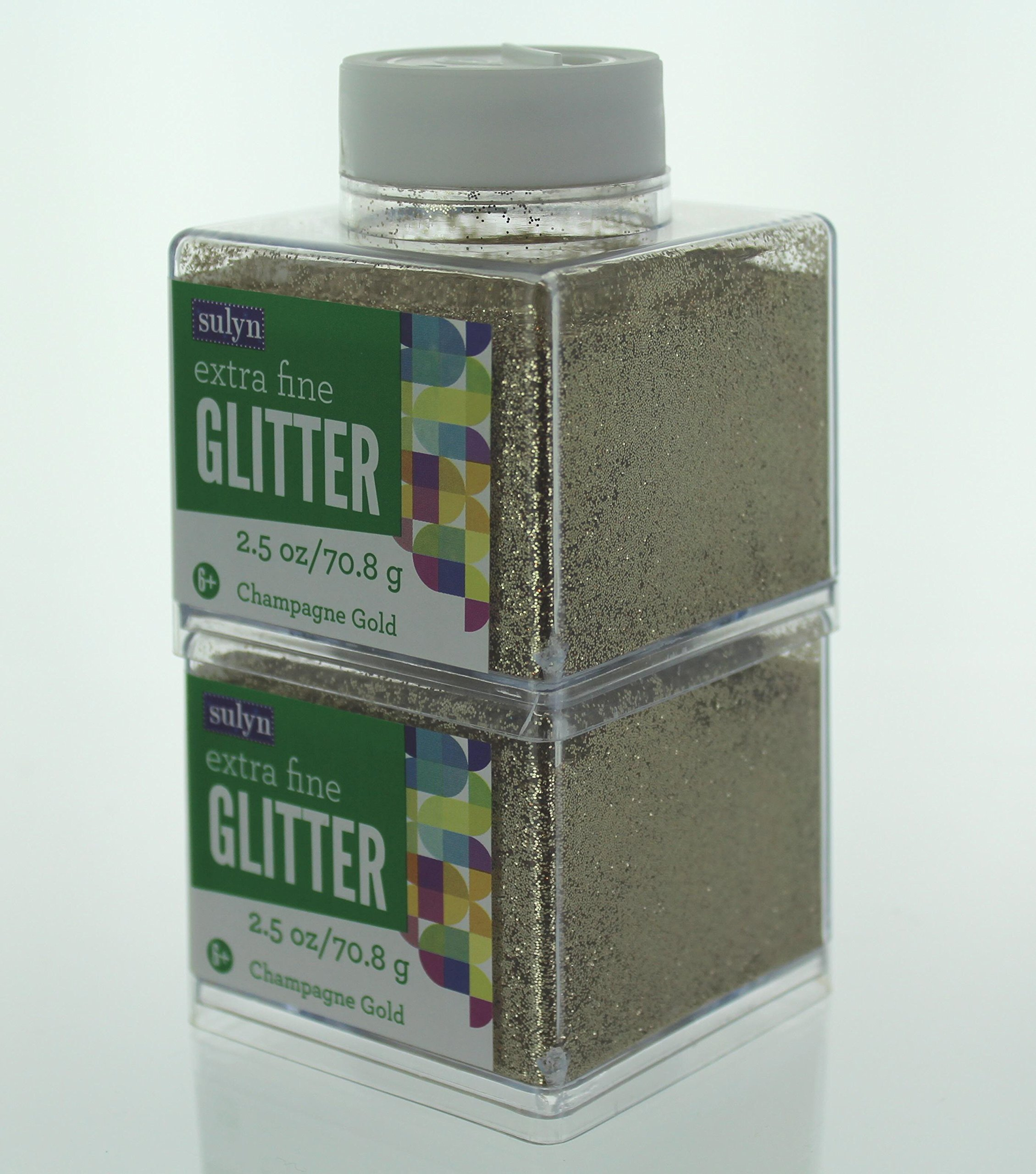 (Pack of 2) Advantus Corp Glitter 2.5 oz Stack-able Container (Champagne Gold - Extra Fine)