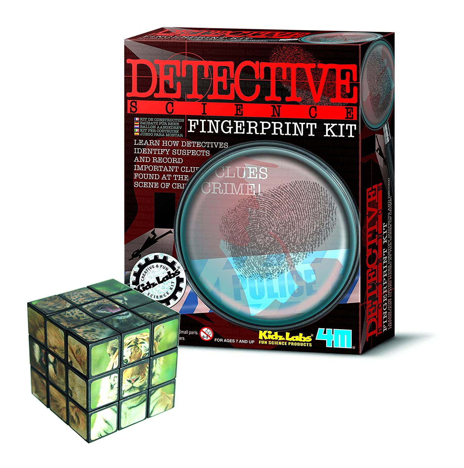 Fantastic Gift Ideals Finger Printing Kit Detective Skills for Young Minds - Comes with a Fun Wild Animal Magic Cube Gadget & Gift Store