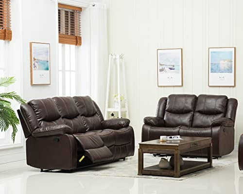 Container Furniture Direct Royal Albert Faux Leather Upholstered Gliding Reclining Set with 81 Sofa and Loveseat, Brown