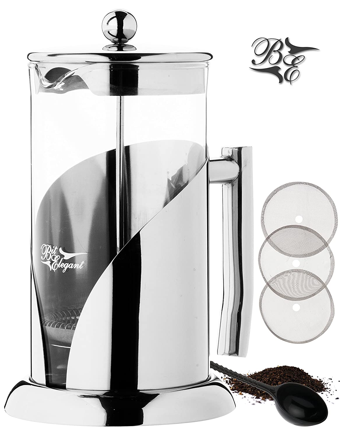 BitElegant French Press Coffee Maker 34 Oz, Luxury Heavy Duty Stainless Steel and Thermal Shock Resistant Borosilicate Glass Coffee Press Plunger No-Plastic