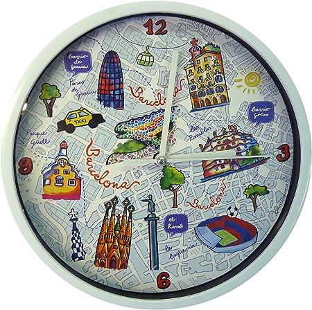 Nadal Reloj Mediano Mapa Barcelona España, Multicolor, 20 x 20 x 3,45 cm: Amazon.es: Hogar