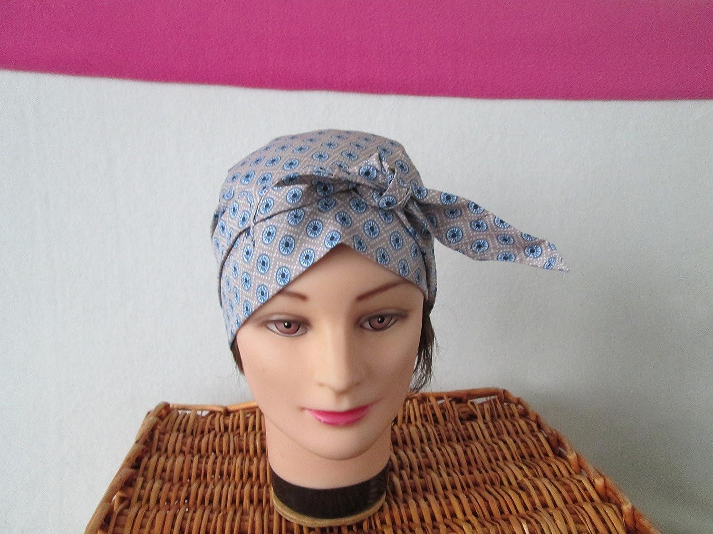 Foulard, turban chimio, bandeau pirate au féminin beige, bleu et bleu marine avec des ronds