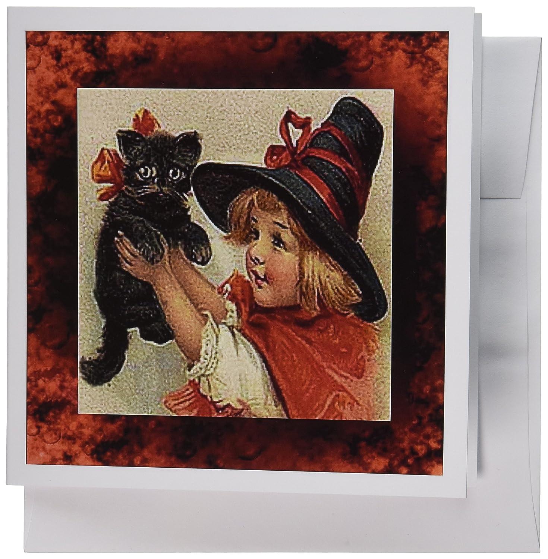3Drosa 20,3 x 20,3 x 0,6 cm vintage Halloween Little Girl Holding nero Cat biglietti d' auguri, set di 6 (GC _ 6200 _ 1)