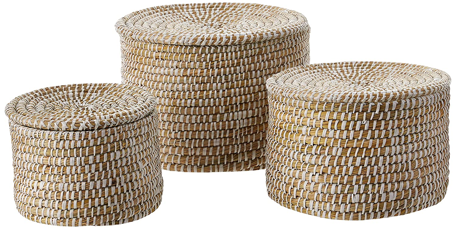 Woven seagrass basket set - rustic decor for a French farmhouse style interior.