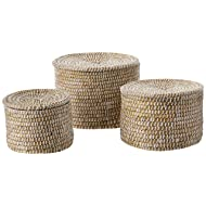 Creative Co-op Whitewashed Woven Seagrass Lids (Set of 3 Sizes) Baskets, White