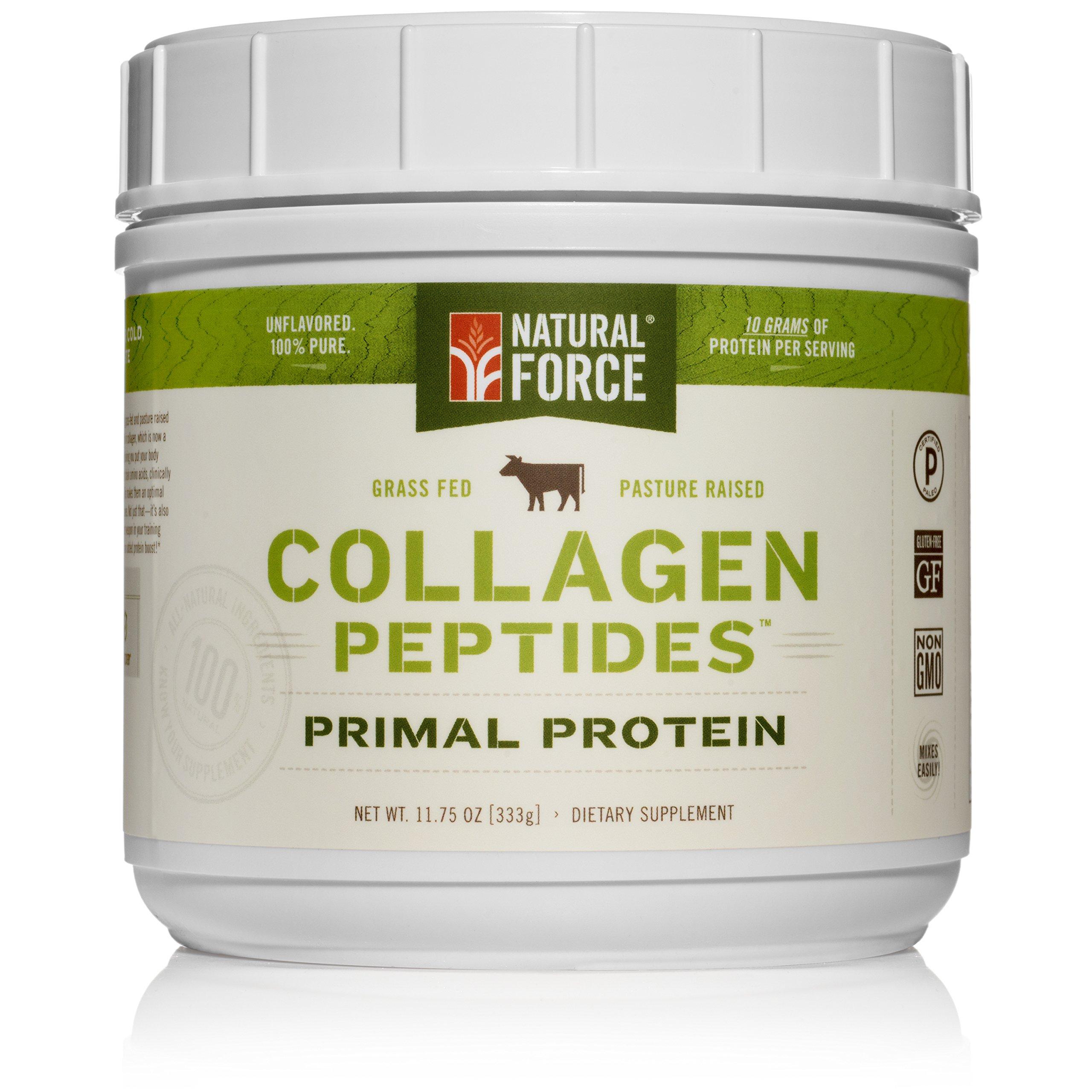 Natural Force® Collagen Protein *TOP RANKED COLLAGEN SUPPLEMENT* Grass Fed Collagen Hydrolysate – Natural Collagen Peptides Paleo Protein Powder, Type I, Non-GMO, Gluten Free
