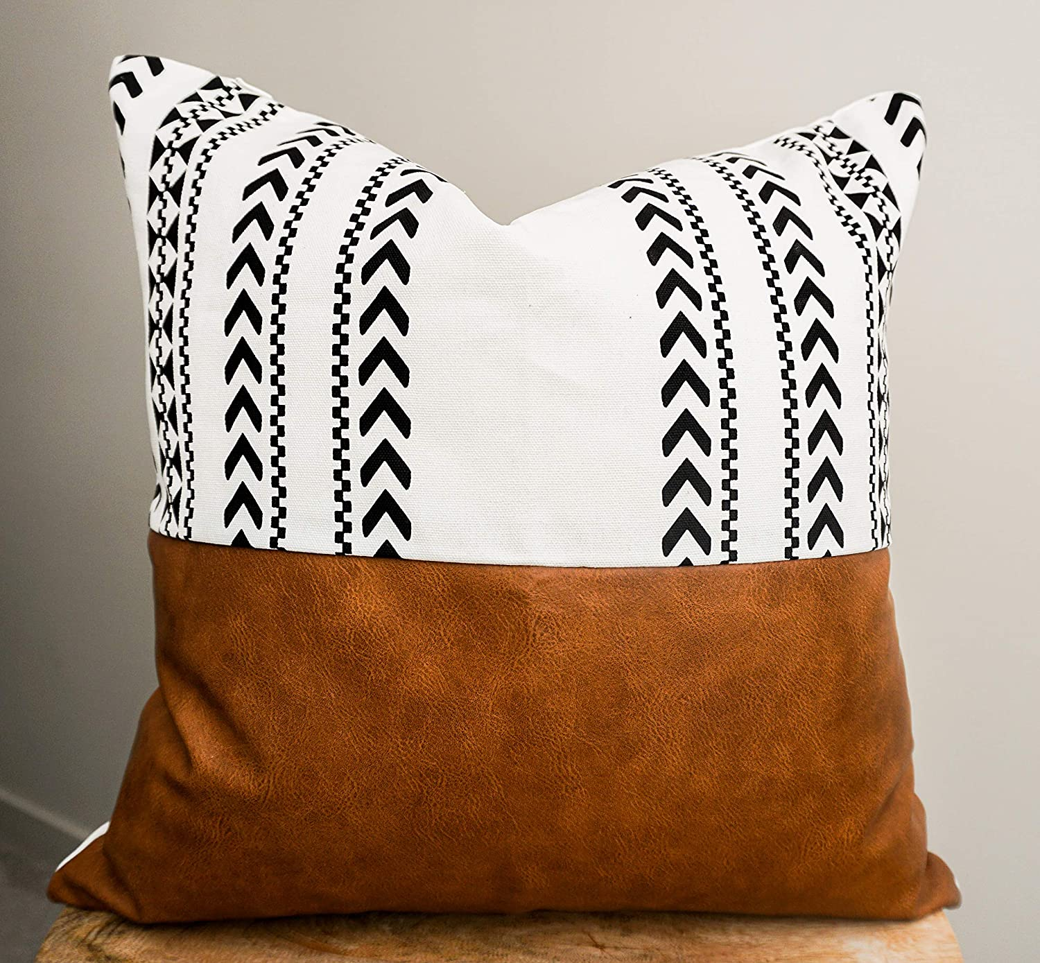Ekka Moderna Faux Leather and 100% Cotton Decorative Throw Pillow Covers for Couch Bed Sofa, 18 x 18 inch Modern Home Decor Accent Square Living Room Cushion Cases Cognac Brown Black and White (Mesa)