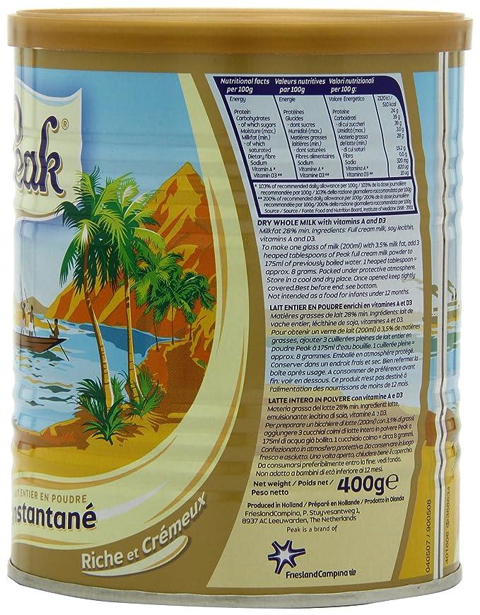 Peak Dry Whole Milk Powder de 400 gramos (paquete de 2): Amazon.es: Alimentación y bebidas