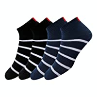 Maanja Men's Colourful Cotton Cushion Ankle Socks (Pack of 2)