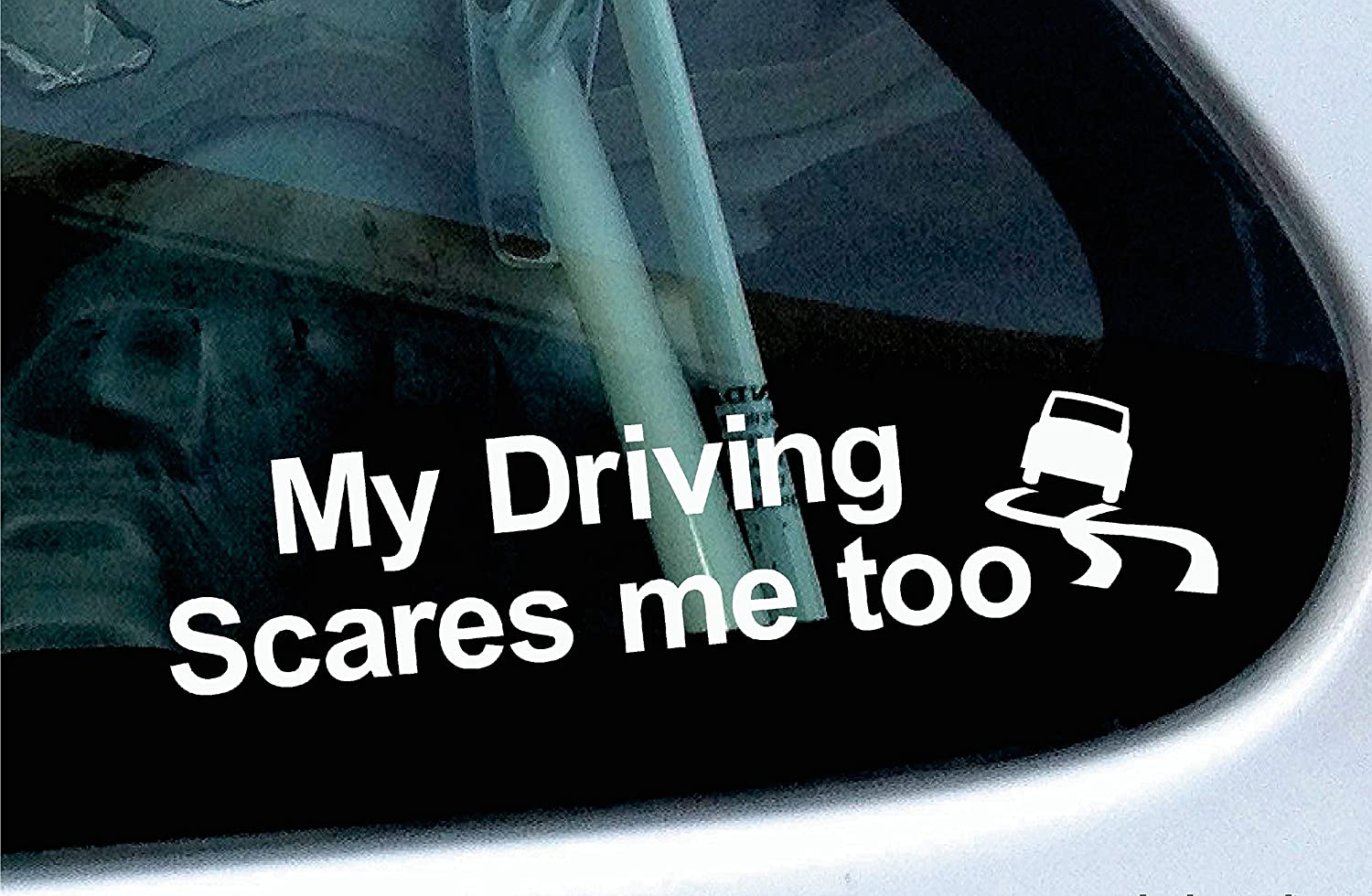 ' My driving scares me too ' funny car bumper vinyl sticker Turnerco
