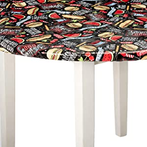 HomeCrate All American BBQ Elasticized Tablecloth, Large Round