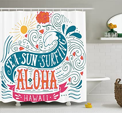 Ambesonne Hawaiian Shower Curtain By Sea Sun Surfing Typography With Ocean Waves Aloha Tropical Print