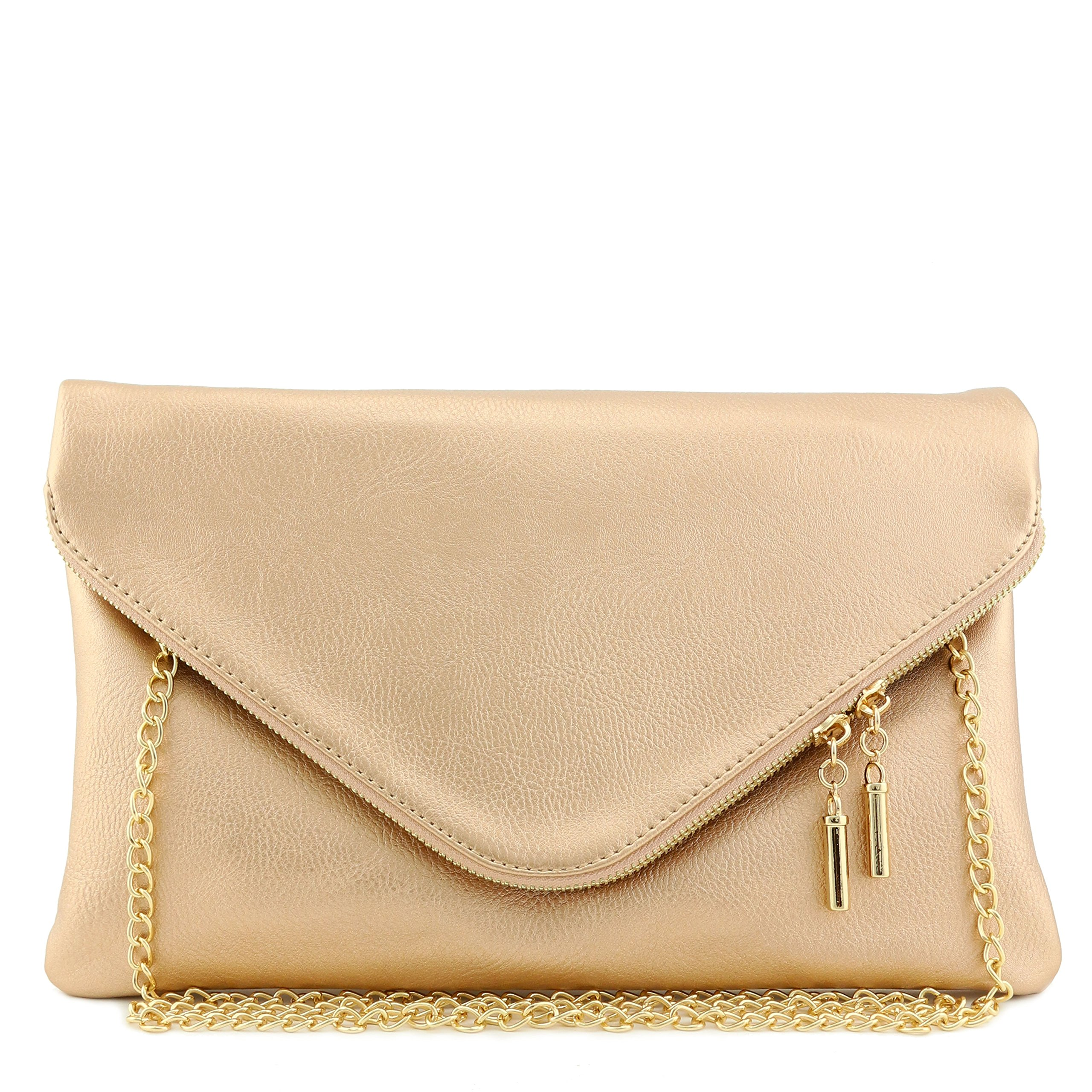 Large Envelope Clutch Bag with Chain Strap (Rose Gold)