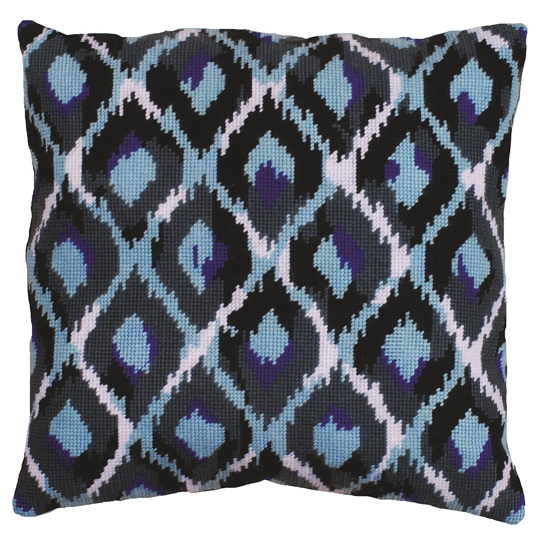 Tobin 2562 Needlepoint Kit Stitched in Yarn, 12 by 12-Inch, Blue Ikat DW2562