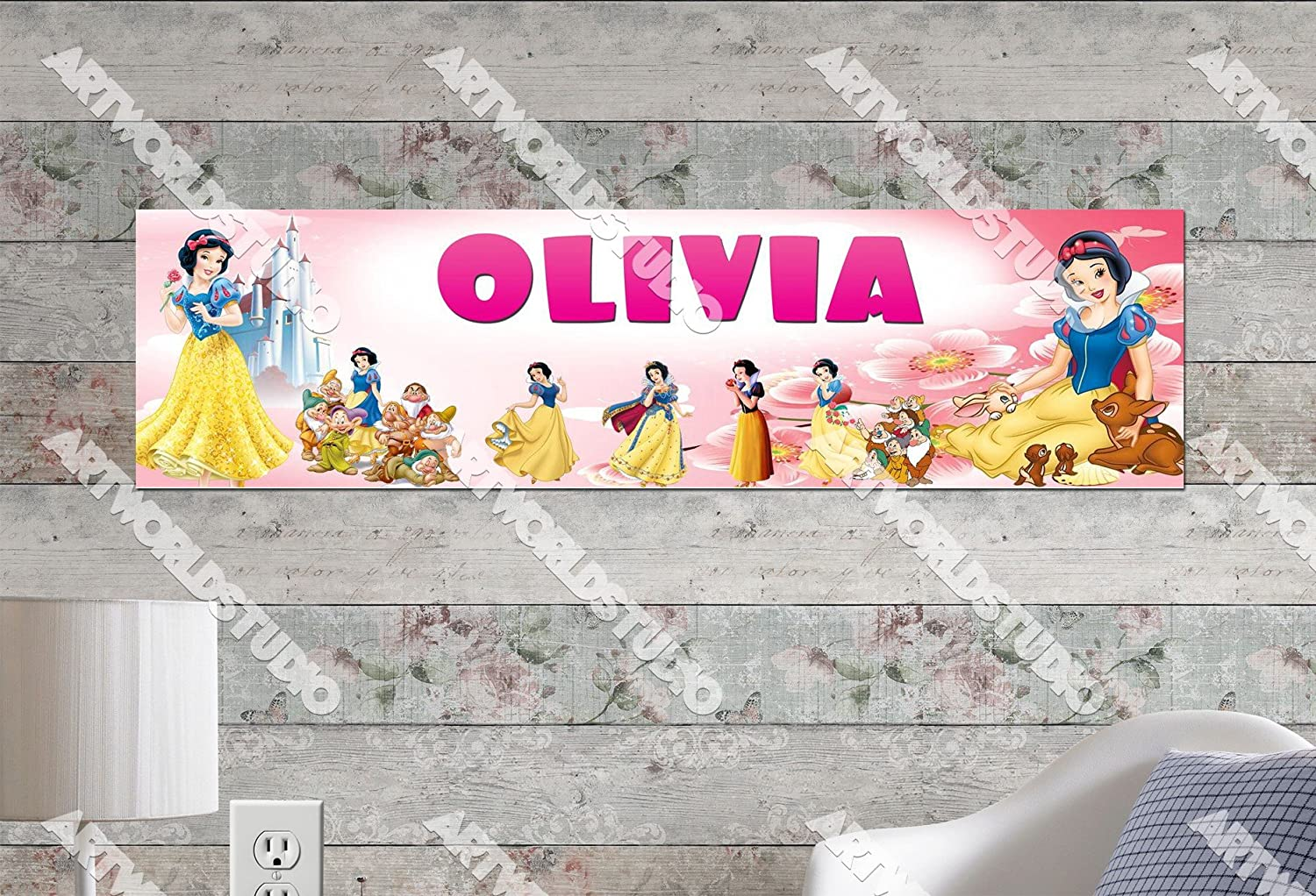 Snow White - 8.5x30 Personalized Name Poster, Customize With Your Child's Name, Birthday Party Banner
