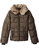 Jessica Simpson Big Girls' Heavyweight Puffer Jacket with Metalic Zipper and Faux Fur Collar