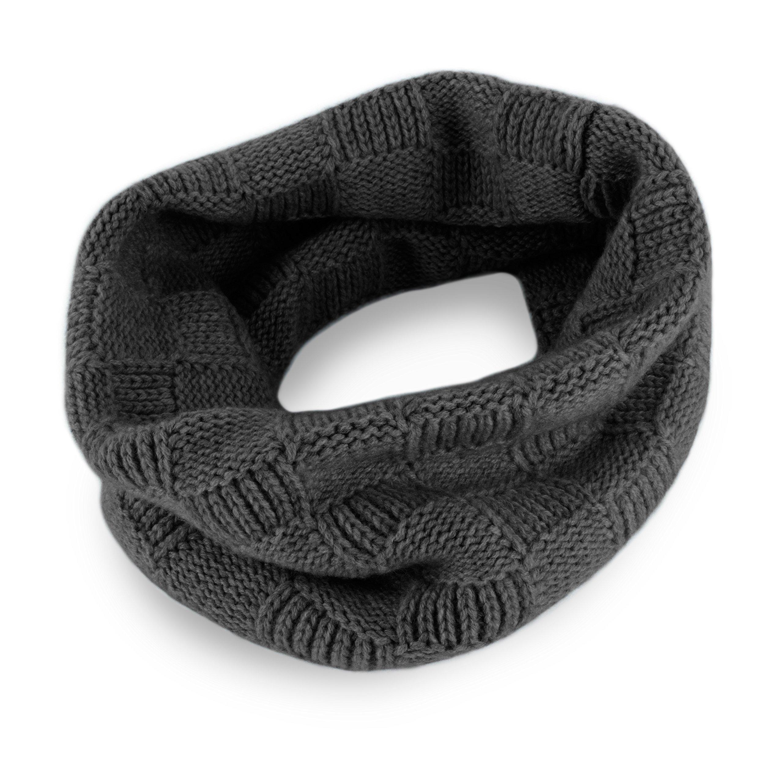 Love Cashmere Mens Checked 100% Cashmere Snood - Dark Gray - made in Scotland - RRP $160