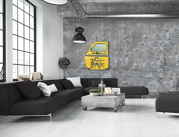 Zep YY161 Porte de Taxi New York D/écoration Murale Miroir M/étal Jaune