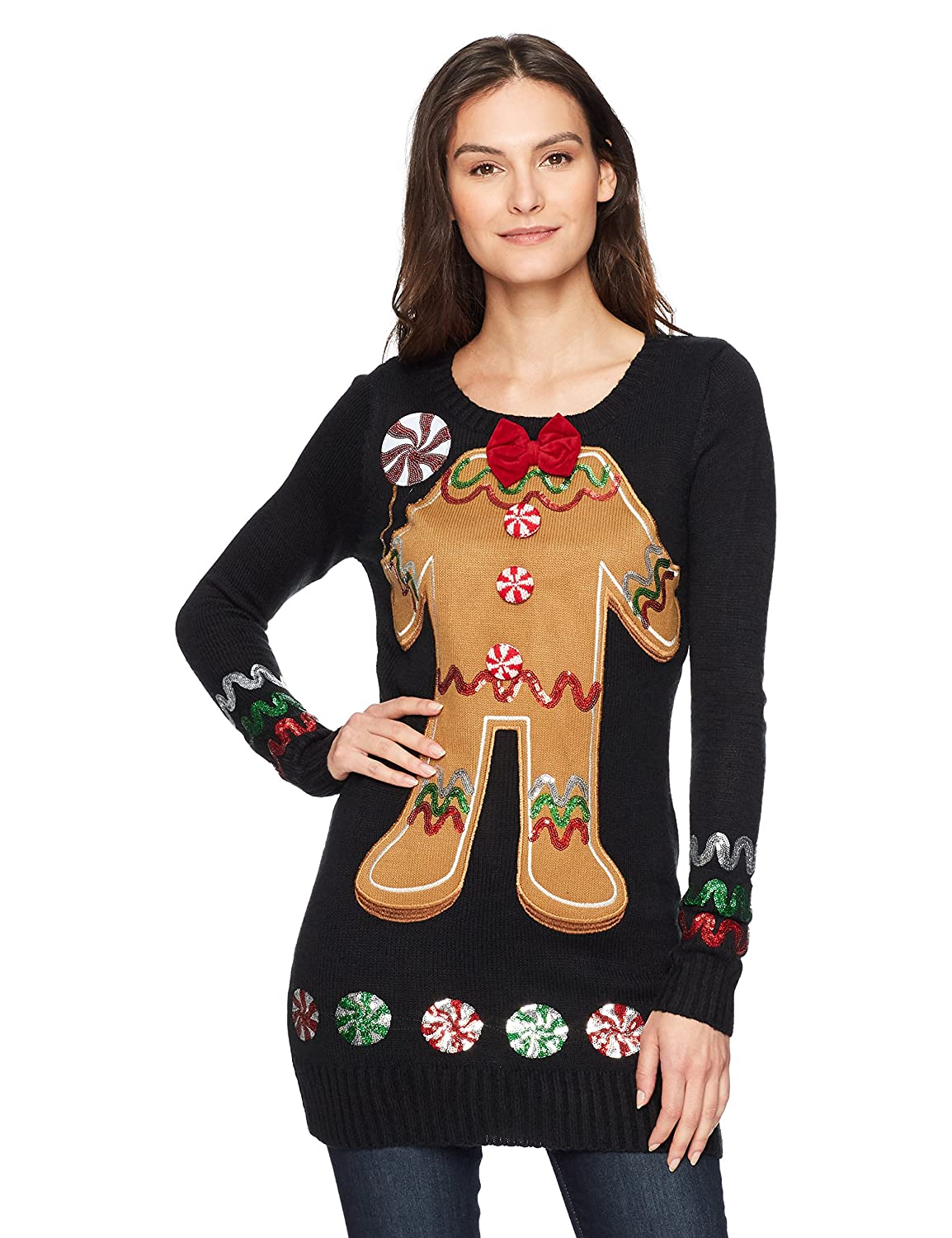 Blizzard Bay Juniors Christmas Oh Snap 3D Gingerbread Man Sweater
