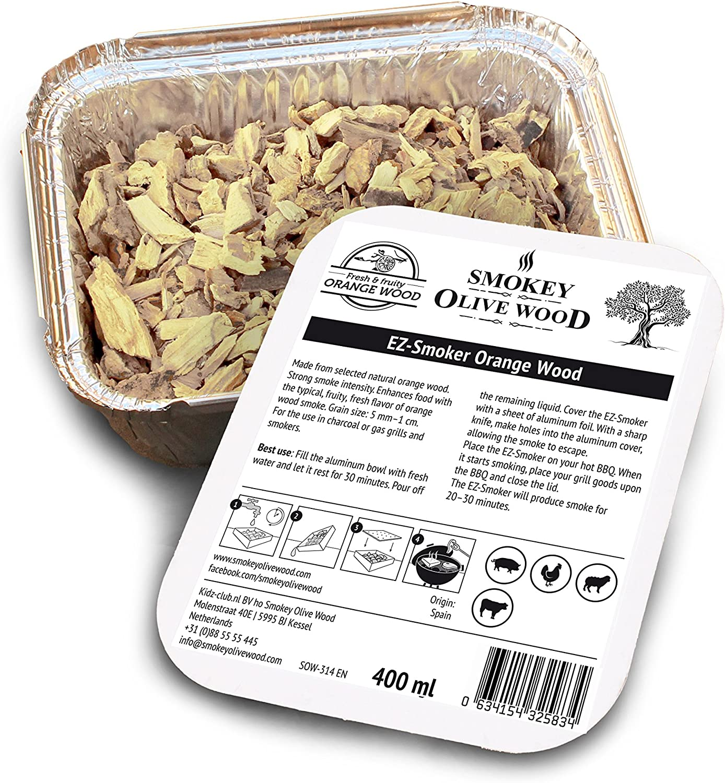 Smokey Olive Wood Sow-314 Virutas de Madera de Naranjo, Amarillo/Gris