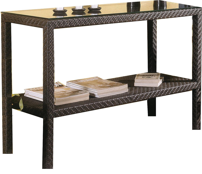 Amazon Soho Patio Console Table w Lower Shelf Wicker Weave