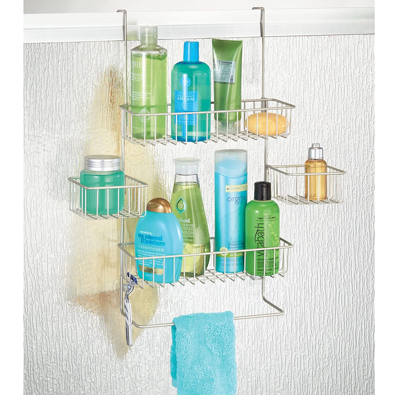 Amazon.com: mDesign Over Door Bathroom Tub & Shower Caddy, Hanging ...
