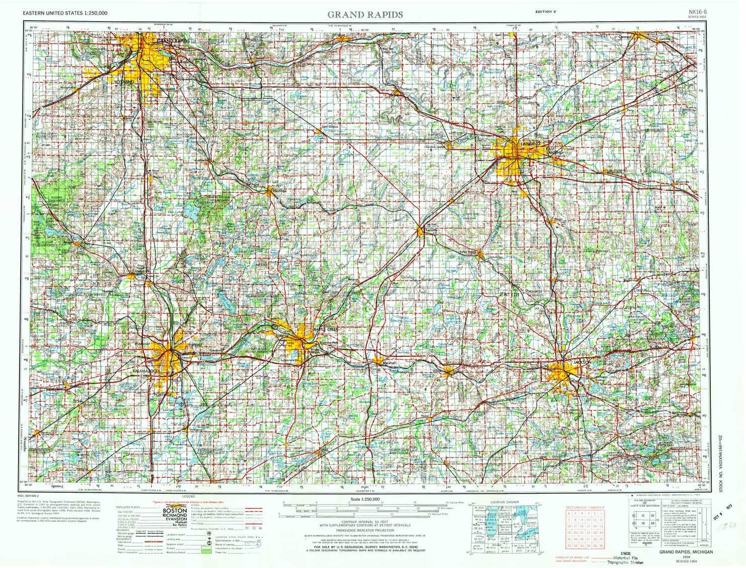 Amazon Com Yellowmaps Grand Rapids Mi Topo Map 1 250000 Scale 1 X 2 Degree Historical 1958 Updated 1973 22 X 29 2 In Paper Sports Outdoors