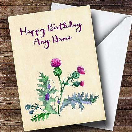 Amazon watercolour scottish thistle personalized birthday watercolour scottish thistle personalized birthday greetings card m4hsunfo