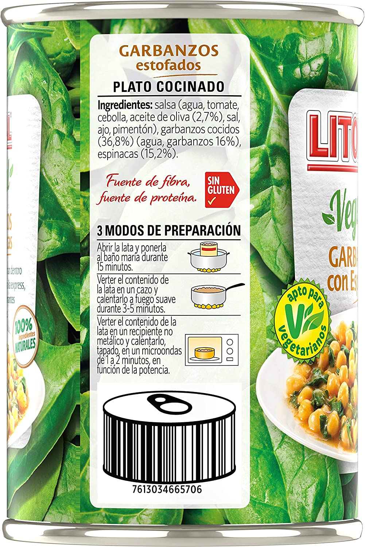 Litoral Vegetal Plato Preparado de Garbanzos, sin Gluten ...