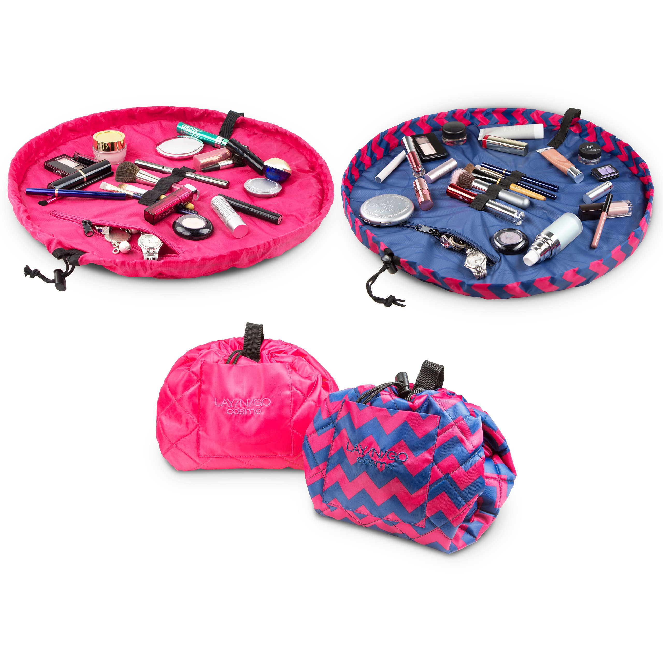 Lay-n-Go COSMO Plus (21'') Set of Two Cosmetic Bags (Chevron Pink/Pink)