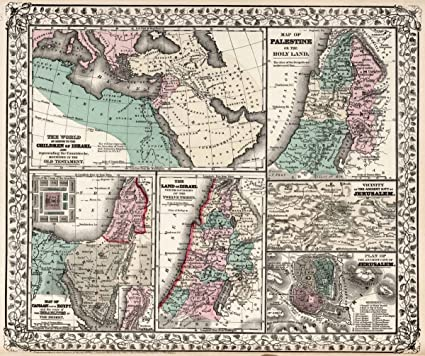 world atlas 1877 the world as known to the children of israel and representing countries