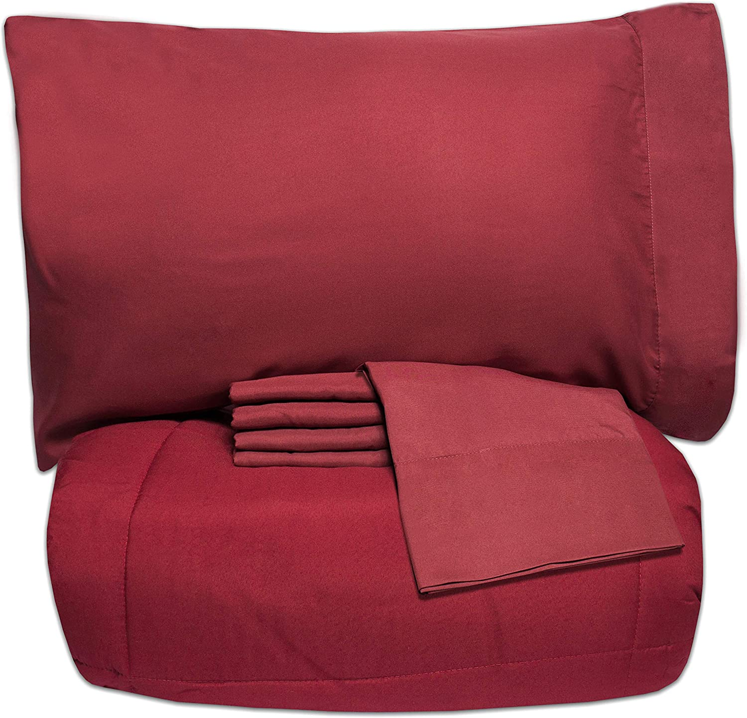 Sweet Home Collection 5 Piece Bag Comforter Set Solid Color All Season Soft Down Alternative Blanket & Luxurious Microfiber Bed Sheets, Twin, Burgundy