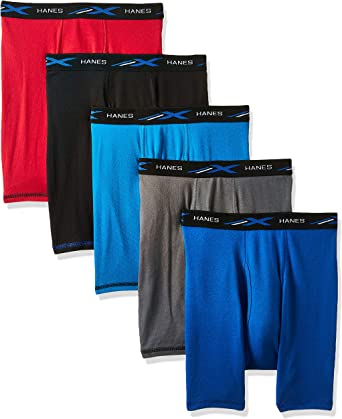 Hanes Men's 5-Pack X-Temp Comfort Cool Assorted Boxer Briefs